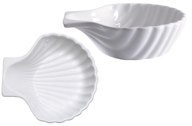 Muschelschale Keramik, weiß