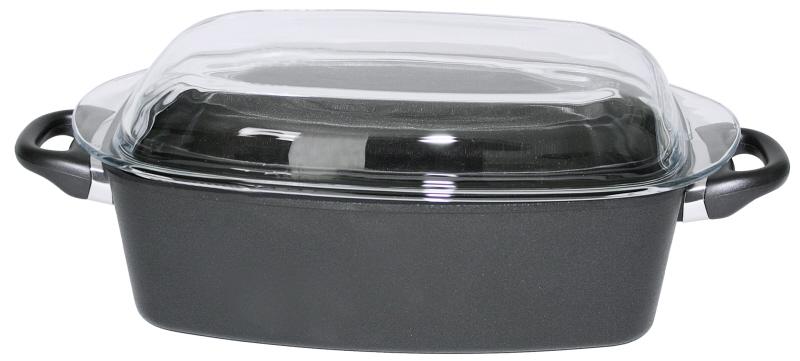 Bräter aus Aluminiumguss 33 x 21 x 11cm, mit Glasdeckel mit Titan-Alu-Beschichtung
