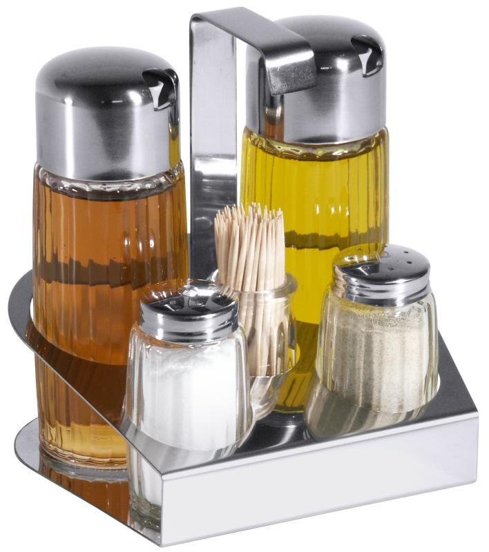 Menage 5-teilig Essig, Öl, Salz & Pfeffer & Zahnstocher