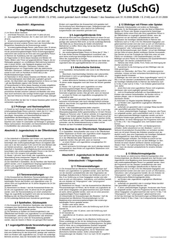 Aushang Jugendschutzgesetz